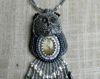 Embroidered OWL ametrine gemstone necklace