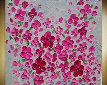 SALE Original  Pink  Blossom Flowers Modern  Impasto Textured Palette Knife  Tree   Painting.  Made2Order.