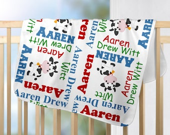 Personalized Cow Baby Blanket - Cow Receiving Blanket  - Custom Farm Blanket - Newborn Swaddling Blanket - Baby Photo Prop