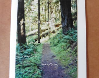 Photo Note Card, Goodman Creek Trail, forest decor, woodland style, forest trail art, wooded path art, Fine Art Photography by HikingTrails
