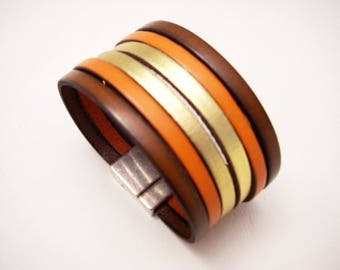 leather cuff brown orange and gold with magnetic clasp