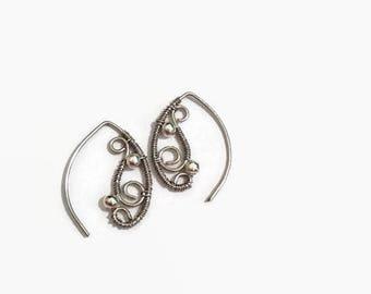 Silver Threader Earrings/ Wire Wrap Earrings/ Wire Wrap Jewelry/ Wire Jewelry/ Silver Wire/ Threader Earrings/ Dangle Earrings