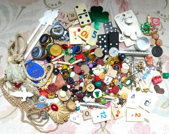 Destash Lot#3/Found Objects-Altered/Mixed Media-Beads,Trim,Letter Tiles,Cards-etc