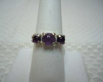 Round Cabochon Amethyst Three Stone Ring in Sterling Silver  #2003