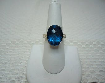 Oval Checkerboard Faceted Blue Fluorite Ring in Sterling Silver  #2004