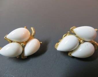Vintage Trifari White Leaf Clip Earrings