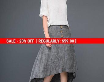 Linen skirt, gray skirt, womens skirts, skirt, summer skirt, button skirt, midi skirt, pocket skirt, handmade skirt, unique skirt C1164