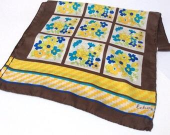 Vintage Mod Flower Power Silk Scarf, Echo Silk Scarf, Brown Yellow Blue, 1970s