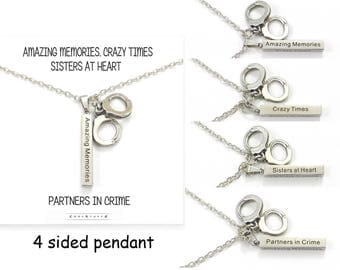 Partners In Crime Necklace, Handcuff Charms, Stainless Steel Bar Necklace, Best Friends Gift, Sorority Gift, BFF, Sisters at Heart