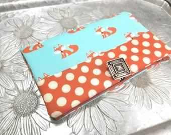 Women's Wallet, Orange and Turquoise Fox Wallet, Polka Dot Wallet Clutch