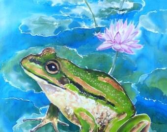 Green FROG on Waterlily Pond, OUTDOOR Wall ART Panel from original silk painting, Garden Art, New Zealand Art Print on Aluminium.