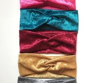 5 Crushed Velvet Turban Headbands