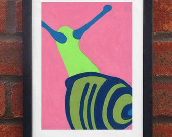 Snail - A5 original oil pastel drawing (Framed)