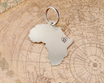Africa Keychain with one monogrammed heart- Customized & Handmade