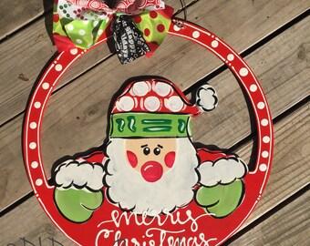 Santa door hanger christmas with hand lettering