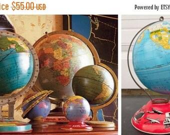 "ON SALE Ohio Art, World, Globe, 1950'S, Travel, Tin Globe, 6"",World Globe, Vintage, Child's, Litho, Map, Blue, Trains, Trucks, Ship, Air Pla"
