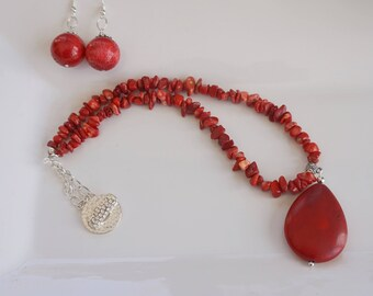 Red Coral Chain Necklace, Women's Necklace,  Red Necklace, Red Pendant Necklace Set