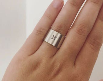 Arrow Tribal Handstamped Ring