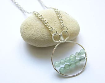 Circle Necklace, Green Necklace, Aventurine Necklace, Gemstone Pendant, Boho, Wire Wrapped Pendant, Gifts for her, Choker, Modern Pendant
