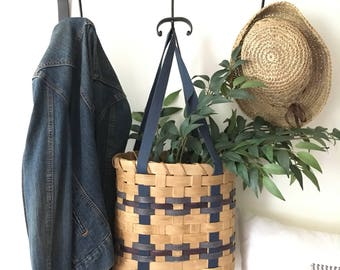 Woven Amish Basket w/ Blue Accent . Hanging Wall Basket w/ Handles . Fixer Upper Decor . Cottage Chic . Rustic Farmhouse Decor . Ticking .