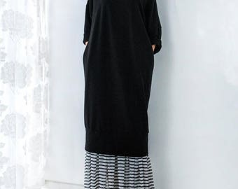 SALE ON 20 % OFF Black Dress with Sleeves / Islamic Dress / Hijab Dress / Dress with Pockets / Day Dress / Long Maxi Dress / Plus Size Dress