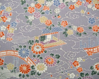 Yuzen Royal Room Garden scene Vintage Japanese Tango chirimen silk kimono fabric