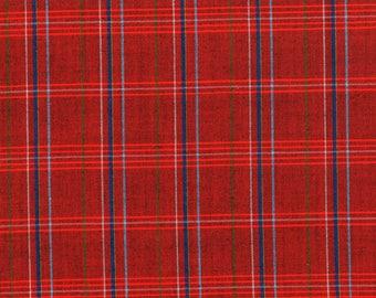 Vintage Japanese kimono fabric. Red Geometric Check kasuri wool kimono fabric