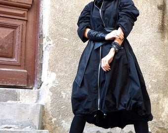 SALE NEW Collection Black  Zipper Hooded Raincoat / Spring Blazer / Extravagant Trench with Eco Leather  Belt / Maxi Coat  by Aakasha A07372