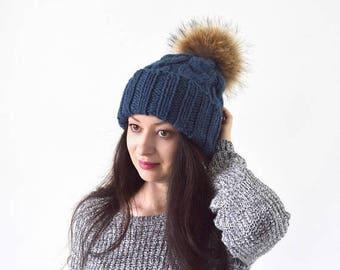 SALE Double Brim Knit Slouchy Hat with Large Fur Pom Pom | The Winona