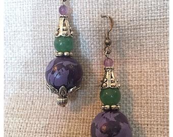 Purple and Green Boho Earrings