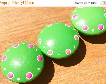 Huge Summer Sale CLEARANCE Bright Lime Green Knob with Hot Pink Polka Dot Accents Drawer Knobs for Dresser Drawers Closet Doors great for gi