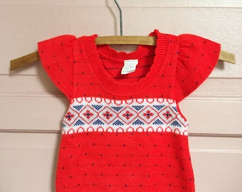 Vintage intarsia knit  red sweater with flutter sleeves- baby sweater- baby shirt- vintage baby style 9-12M