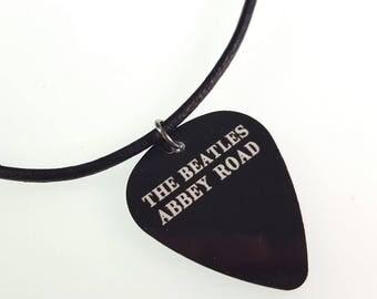 The Beatles ABBEY ROAD Album Cover Art Genuine Guitar Pick Necklace