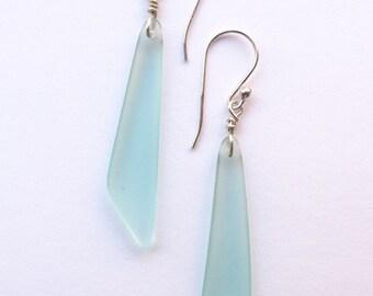 """Sea Glass EARRINGS Sterling Silver U-Pick Aqua Seafoam Cobalt Blue Purple Dangle Earwires Ocean Beachy 2 1/4"""" Handmade Fancy Triangle"""