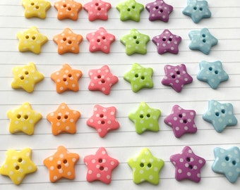 Polka Star Buttons (10pk) - Sewing buttons / knitting buttons / craft buttons / spotty buttons