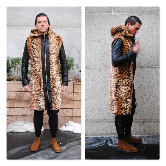 Faux Tiger Fur/ Faux Leather Trim Sleeveless Zipper Front Tunic Vest