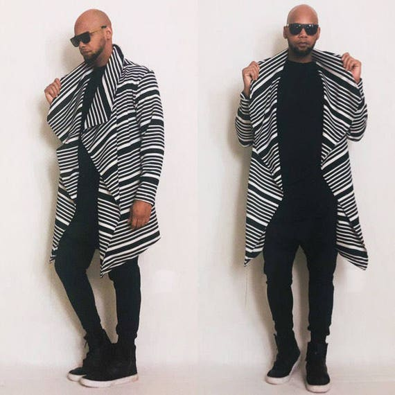 Striped Drape Front Cardigan Inspired By Y3, Yeezy, Helmut Lang, RICK OWENS