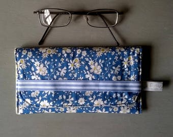 Blue Floral Glasses Case with Yellow Patterned Lining / Specs case / Pouch / Purse / Bag
