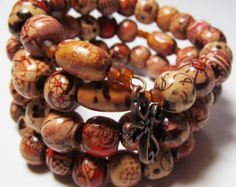 Rosary bracelet, 5 Decade, hand painted wood beads, memory wire, Five decade Rosary bracelet (201)