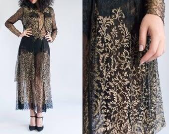 1920s Dress - Black Lace Dress - Vintage Sheer Dress - Golden Moon Dress