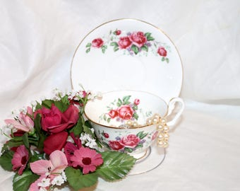 Vintage Clarence Fine Bone China Teacup & Saucer - Made in England - Pink Roses - Blue Forget Me Nots - Gold Trimmed Edge