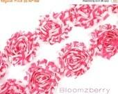 "ON SALE 30% OFF 2.5"" Printed Shabby Rose Trim - Hot Pink Chevron - Chiffon Trim -  Hair Accessories Supplies"