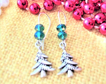 CLEARANCE 50% Off- Christmas Tree Earrings, Green Crystals, Kidney Wires, Holiday Earrings, Christmas Jewelry, Gift Jewelry
