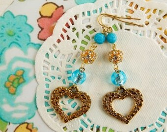 Upcycled heart earrings / brass heart earrings / brass heart charms / blue beads / romantic jewelry / upcycled jewelry / heart earrings