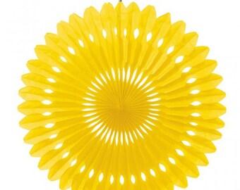 Hanging fan 360 40cm yellow paper rosette