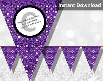 Purple Bandana Banner, Bandanna, Country Western Bandana Party Decorations, Instant Download, DIY Printable Party Decorations