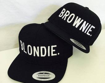 Blondie and Brownie Snapback Hat Black and White Best Friends Blonde Brunette