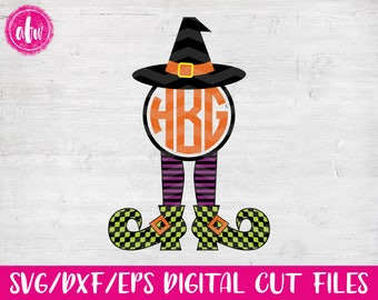 Monogram Witch Legs, SVG, DXF, EPS, Halloween, Fall, Autumn, Polka Dot, Pattern, Vector, Holiday, Silhouette, Cricut