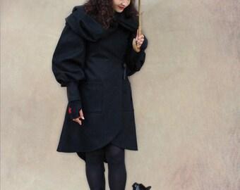 Andrew Black large hooded coat