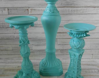 Aqua Candle Holders -Aqua Painted Candle Stand Set - Aqua Ornate Candle Stands - Pillar Candle Holder Set- Pillar/Taper Candle Holder Set